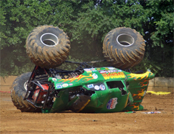 The Avenger Monster Truck flips over during Freestyle Action in Winchester, Virginia