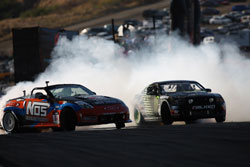 K&N Drifters Chris Forsberg and Vaughn Gittin Jr. Battle.  Photo By: Larry Chen of Driftfotos.com