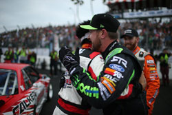 The top-three finishers at Long Beach get together with a show of mutual respect.