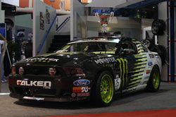 Vaughn's 2011 Mustang drift car in the Falken Tire booth at SEMA 2010.