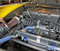 Corvette Racing uses a special K&N air filter on its No.3 and No. 4 Compuware Corvette C6.Rs