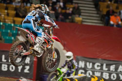 K&N sponsored Vicki Golden was the first ever woman to compete in a professional Arenacross Lites Class event.