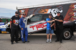 Vincent Jardine is handed the keys to his special edition 2013 Toyota Tundra, the K&N Horsepower Challange Sweepstakes Grand Prize