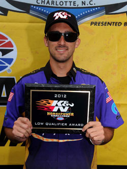 NHRA Pro Stock racer Vincent Nobile adds another K&N Low Qualifier plaque to his collection.