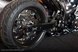 Roaring Toyz manufactured the custom 240 swingarm with Radial Mount 4 Piston Caliper