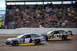 Bill McAnally racing Todd Gilliland and Chris Eggleston  at Napa/Toyota 150 Colorado National Speedway