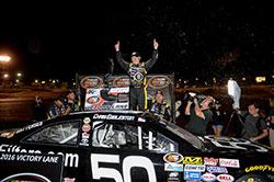 Chris Eggleston edged out fellow teammate Todd Gilliland and Gracin Raz Napa/Toyota 150, at Colorado National Speedway