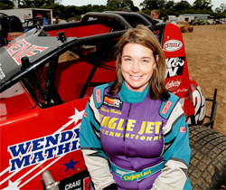 Wendy Mathis is driving on dirt for the first time in her racing career at Parramatta Speedway in Australia