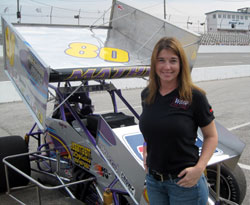 Wendy Mathis' sprint car is powered by a Gaerte 360 motor with K&N Filters.
