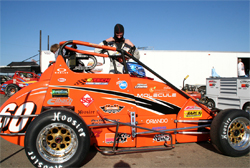 Western Speed Racing driver Michael Lewis prepares for USAC California Pavement Ford Focus Series event at New Stockton 99 Speedway in Northern California