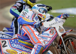 Jason Crump and Russian Emil Sayfutdinov in the FIM Dansk Metal Nordic SGP at Vojens