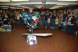 "Tyler ""Wheelie Wizzard"" Shepard performs in several shows annually, wowing the crowds with his wheelie riding abilities."