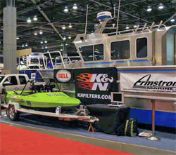 Championship Jet Sprint Boat owned by Wicked Racing Team stands out at Seattle Boat Show at the Qwest Field Event Center in Washington