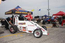 Driver Kody Swanson with his #11 Wilke Pak Motorsports, Speedway Motors, Toyota, Spike pavement car.