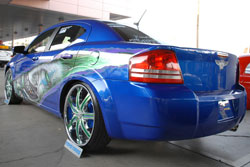 McDougal said that finding the precise paint was time consuming, but now his Dodge Avenger will grab your eye from any angle as it did at SEMA.