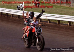 Along with his riding skills, Wille McCoy was quick to credit his team, proper maintenance and God for his recent win at the Springfield Mile, in the AMA  Pro Harley-Davidson Insurance  Grand National Championship
