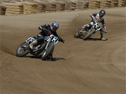 Flat Track Racers go head to head at Willow Springs Raceway in the West Coast Vintage Dirt Track Series Opener, photo by Janice Blunt