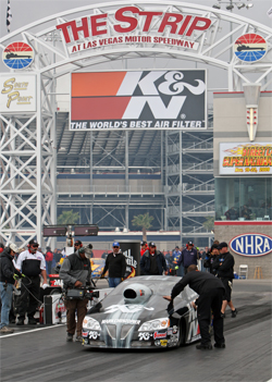 Pro Stock Champion Warren Johnson in his K&N Pontiac in Las Vegas Motor Speedway