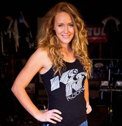 Motorcycle Stunt Rider Leah Peterson with K&N Women's Racerback Tank Top
