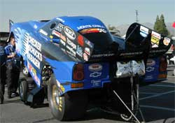 Team CSK switched NHRA Funny Car wraps from red to blue at Englishtown