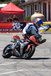 In Monterey last year rider Colton practices some alternative seating options.