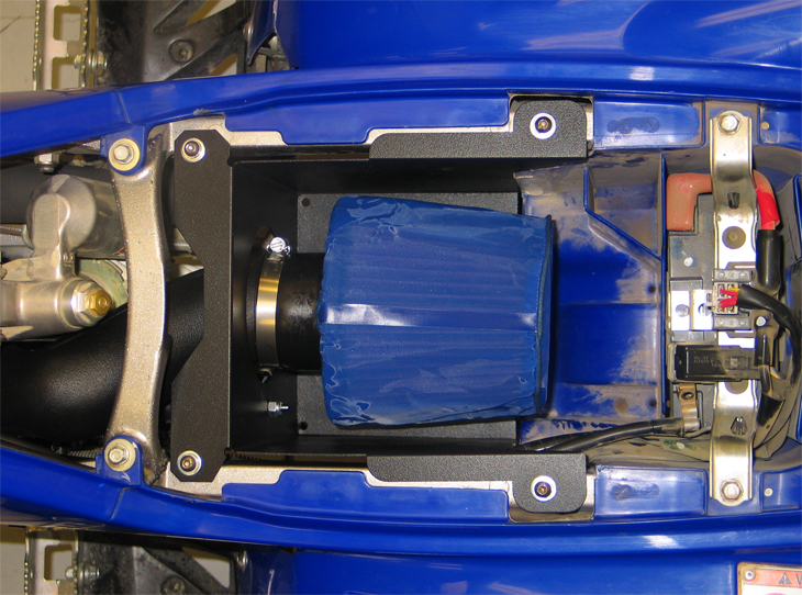 KNs 63 1123 Installed On A 2008 Yamaha YFZ450 With An Optional Blue KN DryCharger