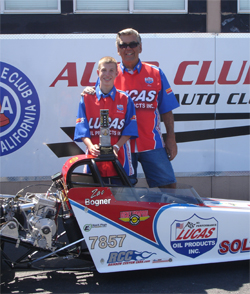 Zachary and Tom Bogner at Auto Club Speedway in Fontana, California