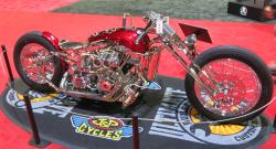 Mark Shell's Cherry Bomb custom chopper side view at the Long Beach IMS
