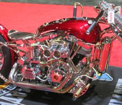 Mark Shell's Cherry Bomb custom chopper engine view at the Long Beach IMS