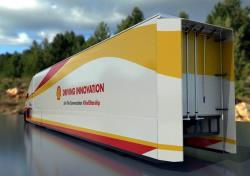The aerodynamics panels help the air reattach after passing over the truck, reducing drag