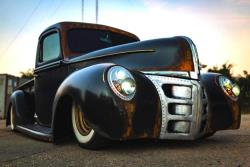The Fuller Moto 1940 pickup rides on an air suspension that can drop the truck to the frame rails
