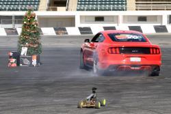 Santa drifting his 2017 Ford Mustang 5.0L at Orange Show Speedway in San Bernardino