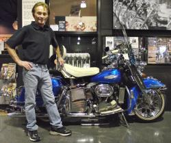 Buddy Stubbs with his Harley from the movie Electra Glide in Blue