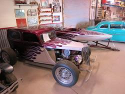 Dwarf hot rod and matching tiny speedboat at the Dwarf Car Museum in Maricopa, Arizona