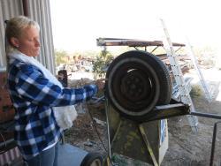 Home-built whitewall machine at the Dwarf Car Museum in Maricopa, Arizona