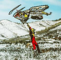 X Game snowmobile athlete Colten Moore in competition