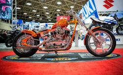 1967 Shovelhead chopper at the Dallas Progressive International Motorcycle Show