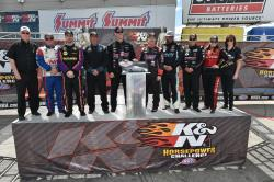 top 8 K&N Horsepower Challenge drivers on stage in 2017 before the race