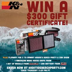 "Fans Can Win Round-Trip Flights to Sammy Hagar's ""High Tide Beach Party & Car Show"""