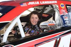 Julia Landauer sitting in her #54 Toyota Camry