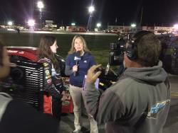 Julia Landauer being interviewed by NBCSN