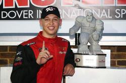 Kyle Benjamin after winning NASCAR K&N Pro Series race in Dover, Delaware