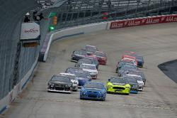 Justin Haley leading at Dover International Speedway