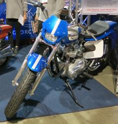 Blue Triumph at the Long Beach International Motorcycle Show