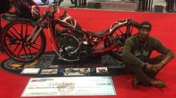 The Dangerous Dezigns cutom Harley at the Dallas, Texas IMS