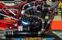 The Dangerous Dezigns cutom Harley at the Dallas, Texas IMS engine closeup