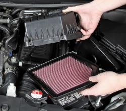 Installing a K&N replacement air filter is as easy as swapping the paper air filter for the K&N