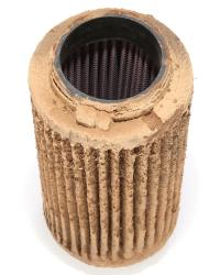 Even when a K&N filter gets dirty, it can still flow air and keep harmful contaminants out