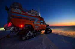 The ZERO SOUTH team converted a pair of Hummer H1s to hybrid vehicles for South Pole expeditions
