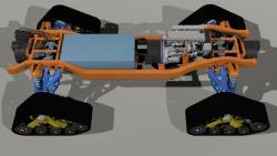This CAD drawing shows they layout of the chassis without the body